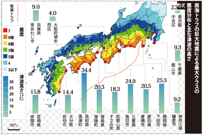 南海トラフ地震で断層が50m滑ると津波被害は甚大に | 表と裏の ...